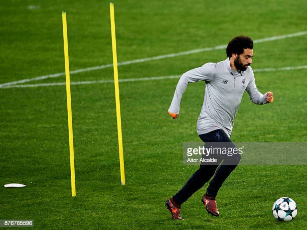 Mohamed Salah Liverpool FC in action during the training session prior to their Champions League match against Liverpool FC at Estadio Ramon SAnchez...