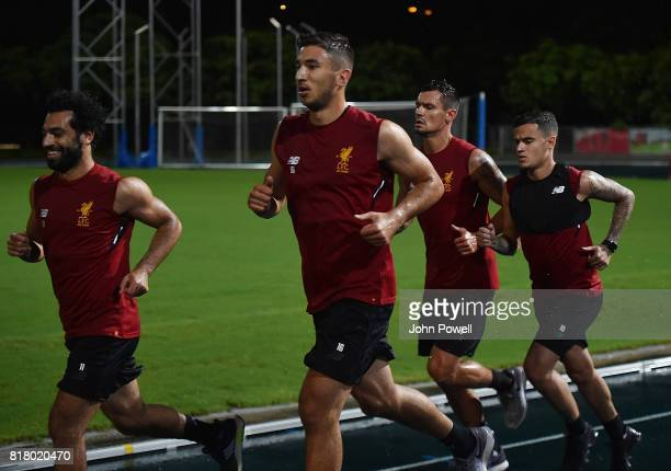 Mohamed Salah Marko Grujic Dejan Lovren and Philippe Coutinho of Liverpool during a training session on July 18 2017 at the Tseung Kwan O Sports...