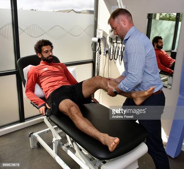 Mohamed Salah new signing for Liverpool during a medical at Melwood Training Ground on June 22 2017 in Liverpool England