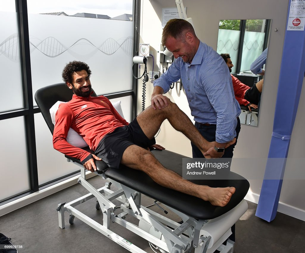 Mohamed Salah new signing for Liverpool during a medical at Melwood Training Ground on June 22, 2017 in Liverpool, England.