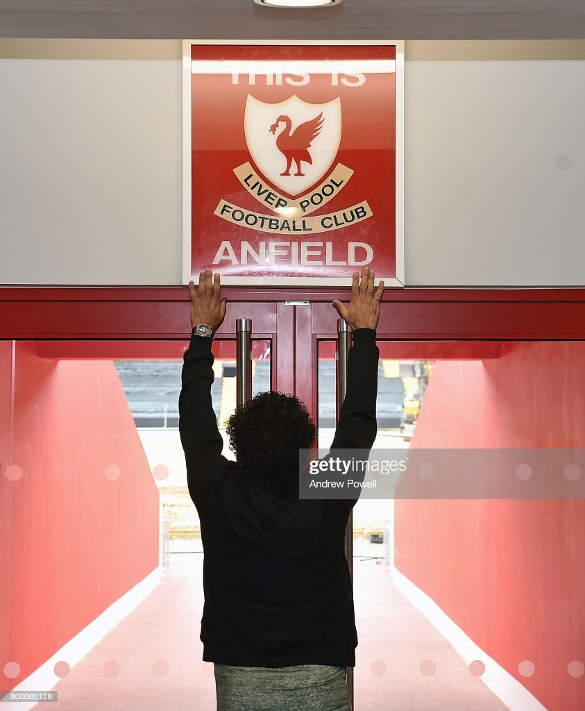 Mohamed Salah new signing for Liverpool visits Anfield on June 23, 2017 in Liverpool, England.