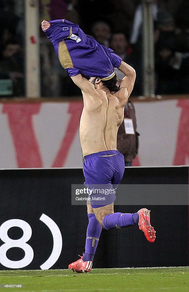Mohamed Salah of ACF Fiorentina celebrates after scoring a goal during the UEFA Europa League Round of 32 match between ACF Fiorentina and Tottenham Hotspur FC at Artemio Franchi stadium on February 26, 2015 in Florence, Italy.
