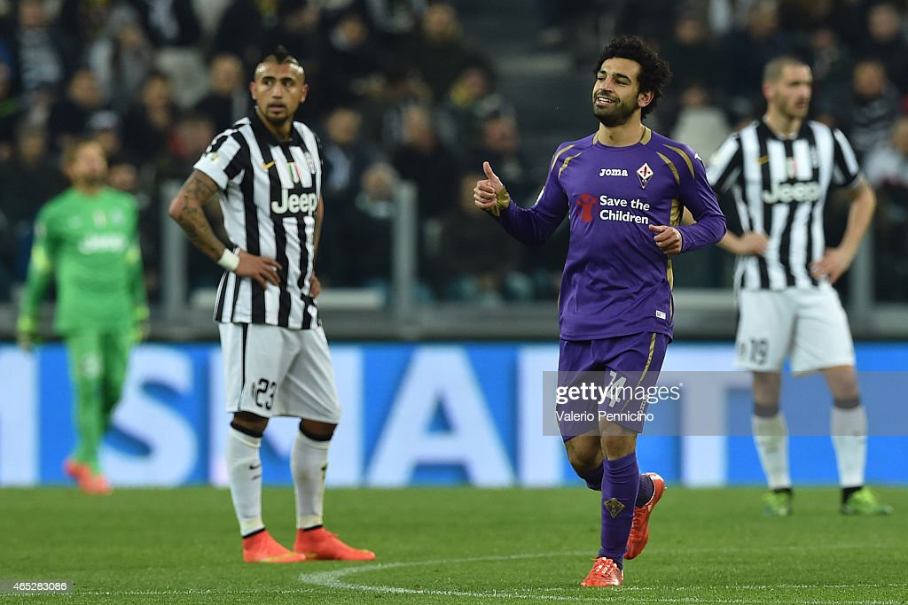 Mohamed Salah of ACF Fiorentina celebrates his second goal during the TIM Cup match between Juventus FC and ACF Fiorentina at Juventus Arena on March 5, 2015 in Turin, Italy.