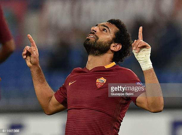 Mohamed Salah of AS Roma celebrates after scoring the goal 40 during the UEFA Europa League match between AS Roma and FC Astra Giurgiu at Olimpico...