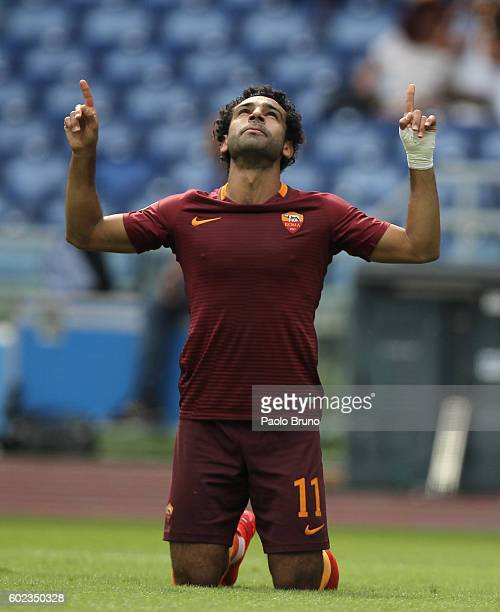 Mohamed Salah of AS Roma celebrates after scoring the opening goal during the Serie A match between AS Roma and UC Sampdoria at Stadio Olimpico on...