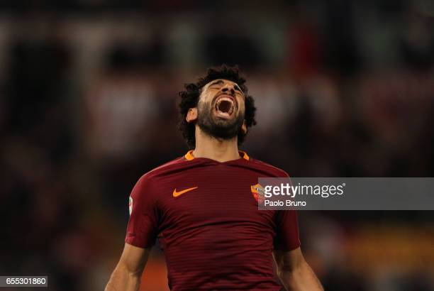 Mohamed Salah of AS Roma celebrates after scoring the team's second goal during the Serie A match between AS Roma and US Sassuolo at Stadio Olimpico...