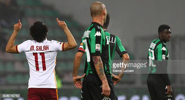 Mohamed Salah of AS Roma during the Serie A match between US Sassuolo Calcio and AS Roma at Mapei Stadium Città del Tricolore on February 2 2016 in...
