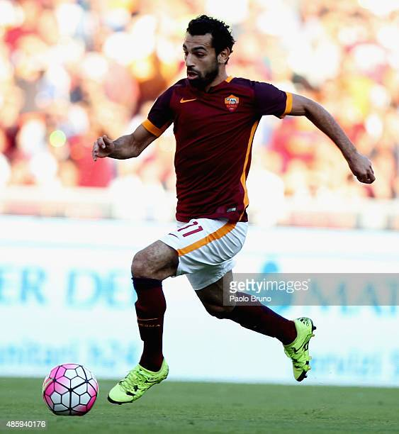 Mohamed Salah of AS Roma in action during the Serie A match between AS Roma and Juventus FC at Stadio Olimpico on August 30 2015 in Rome Italy