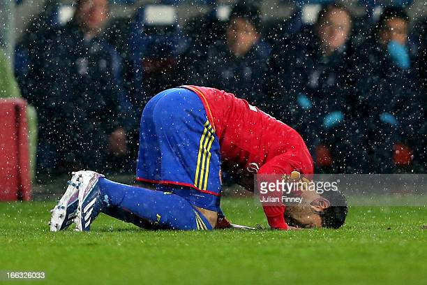 Mohamed Salah of Basel celebrates after scoring a goal to level the scores at 1-1 during UEFA Europa League quarter final second leg match between FC...
