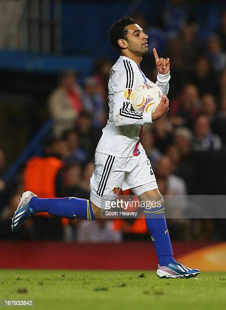 Mohamed Salah of Basel celebrates as he scores their first goal during the UEFA Europa League semi-final second leg match between Chelsea and FC...