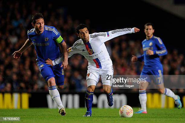 Mohamed Salah of Basel holds off Frank Lampard of Chelsea during UEFA Europa League semi final second leg match between Chelsea and FC Basel 1893 at...