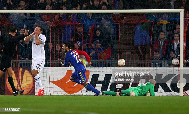 Mohamed Salah of Basel turns away to celebrate after scoring a goal to level the scores at 11 during UEFA Europa League quarter final second leg...