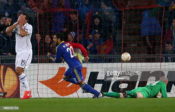 Mohamed Salah of Basel turns away to celebrate after scoring a goal to level the scores at 1-1 during UEFA Europa League quarter final second leg...
