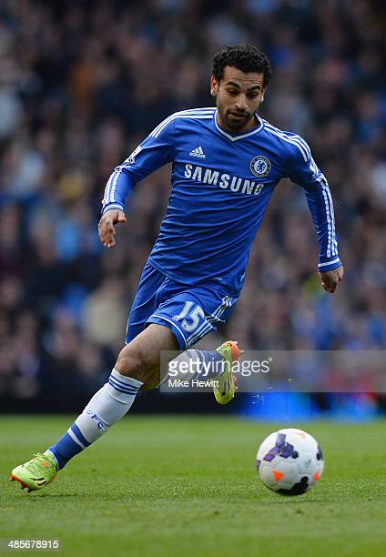 Mohamed Salah of Chelsea in action during the Barclays Premier League match between Chelsea and Sunderland at Stamford Bridge on April 19 2014 in...