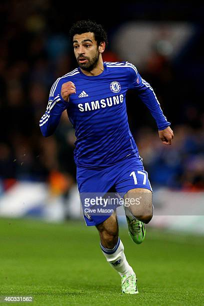 Mohamed Salah of Chelsea in action during the UEFA Champions League group G match between Chelsea and Sporting Clube de Portugal at Stamford Bridge...