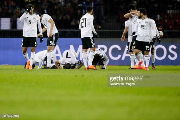 Mohamed Salah of Egypt Ahmed Fathi of Egypt Mohamed Elneny of Egypt prays after the 10 during the International Friendly match between Egypt v...