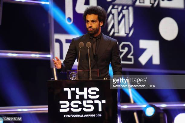 Mohamed Salah of Egypt and Liverpool receives FIFA Puskas Award during The Best FIFA Football Awards at Royal Festival Hall on September 24 2018 in...