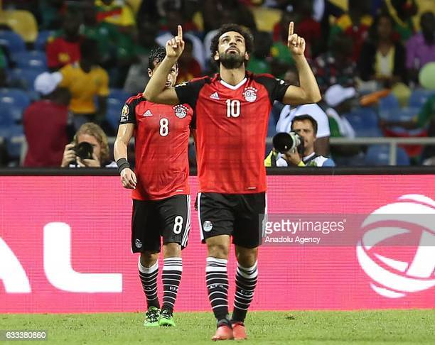 Mohamed Salah of Egypt celebrates after scoring a goal during the 2017 Africa Cup of Nations semifinal football match between Burkina Faso and Egypt...
