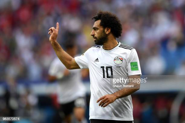 Mohamed Salah of Egypt celebrates after scoring his sides opening goal during the 2018 FIFA World Cup Russia group A match between Saudia Arabia and...
