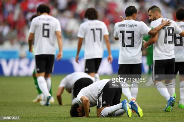 Mohamed Salah of Egypt celebrates after scoring his team's first goal during the 2018 FIFA World Cup Russia group A match between Saudia Arabia and...