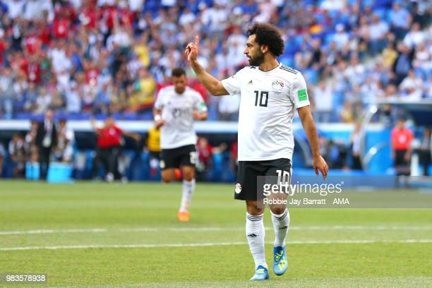 Mohamed Salah of Egypt celebrates scoring a goal to make it 0-1 during the 2018 FIFA World Cup Russia group A match between Saudi Arabia and Egypt at...