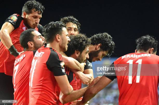 Mohamed Salah of Egypt celebrates scoring his goal during the African Nations Cup Semi Final match between Burkina Faso and Egypt at Stade de...