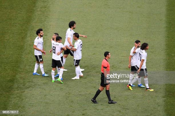 Mohamed Salah of Egypt celebrates with teammates after scoring his team's first goal during the 2018 FIFA World Cup Russia group A match between...