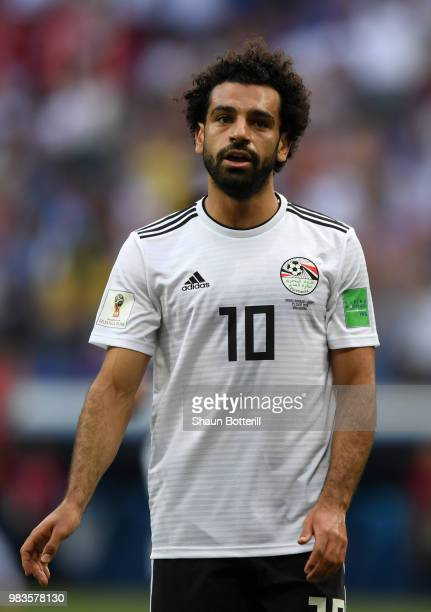 Mohamed Salah of Egypt during the 2018 FIFA World Cup Russia group A match between Saudia Arabia and Egypt at Volgograd Arena on June 25 2018 in...