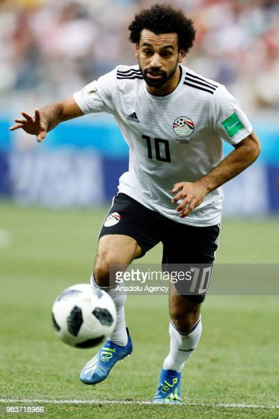 Mohamed Salah of Egypt in action during the 2018 FIFA World Cup Russia Group A match between Saudi Arabia and Egypt at the Volgograd Arenain...