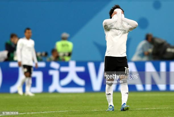 Mohamed Salah of Egypt looks dejected during the 2018 FIFA World Cup Russia group A match between Russia and Egypt at Saint Petersburg Stadium on...