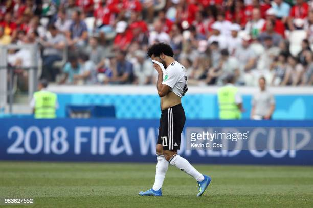 Mohamed Salah of Egypt looks dejected during the 2018 FIFA World Cup Russia group A match between Saudia Arabia and Egypt at Volgograd Arena on June...