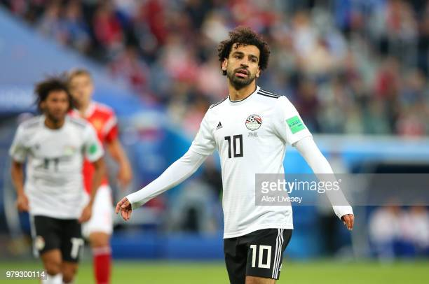 Mohamed Salah of Egypt looks on during the 2018 FIFA World Cup Russia group A match between Russia and Egypt at Saint Petersburg Stadium on June 19...