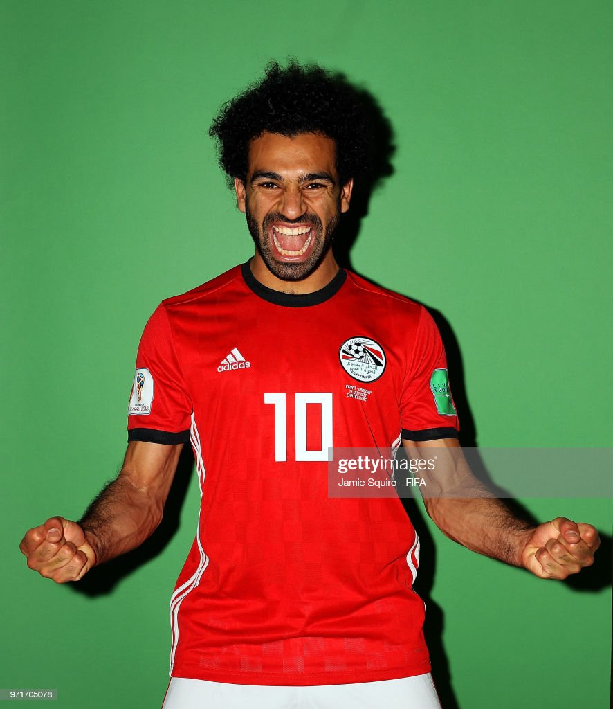 Mohamed Salah #10 of Egypt poses during the official FIFA World Cup 2018 portrait session at The Local hotel on June 11, 2018 in Grozny, Russia.