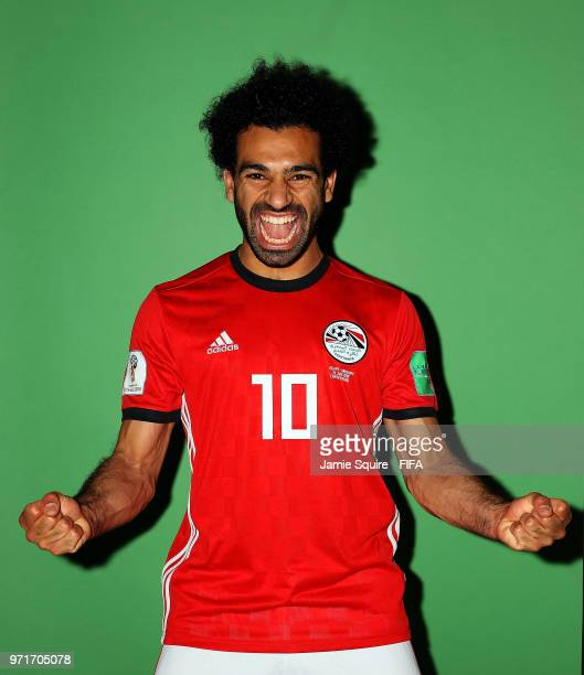Mohamed Salah of Egypt poses during the official FIFA World Cup 2018 portrait session at The Local hotel on June 11, 2018 in Grozny, Russia.