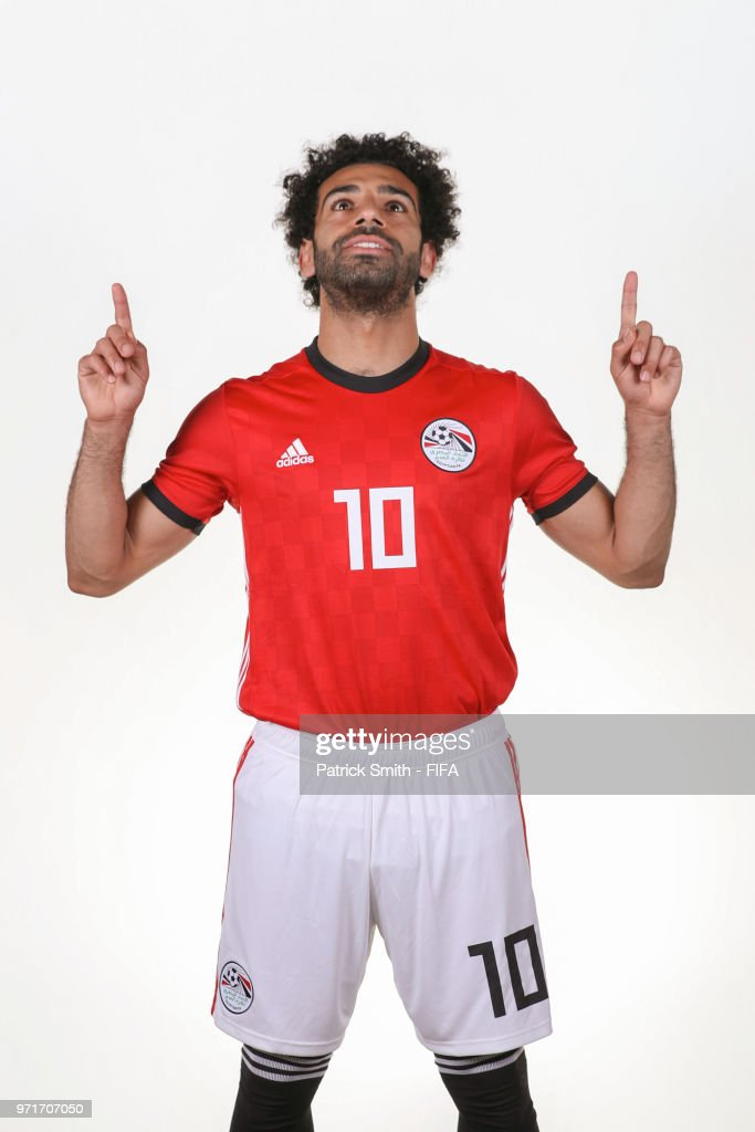 Mohamed Salah #10 of Egypt poses for a portrait during the official FIFA World Cup 2018 portrait session at The Local Hotel on June 11, 2018 in Gronzy, Russia.