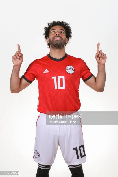 Mohamed Salah of Egypt poses for a portrait during the official FIFA World Cup 2018 portrait session at The Local Hotel on June 11 2018 in Gronzy...