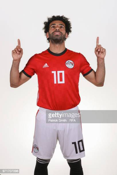 Mohamed Salah of Egypt poses for a portrait during the official FIFA World Cup 2018 portrait session at The Local Hotel on June 11, 2018 in Gronzy,...