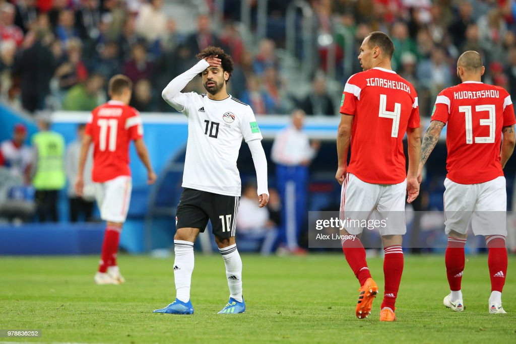 Mohamed Salah of Egypt reacts during the 2018 FIFA World Cup Russia group A match between Russia and Egypt at Saint Petersburg Stadium on June 19, 2018 in Saint Petersburg, Russia.