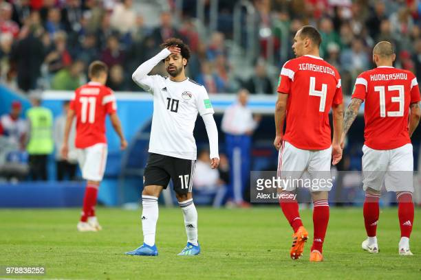 Mohamed Salah of Egypt reacts during the 2018 FIFA World Cup Russia group A match between Russia and Egypt at Saint Petersburg Stadium on June 19...