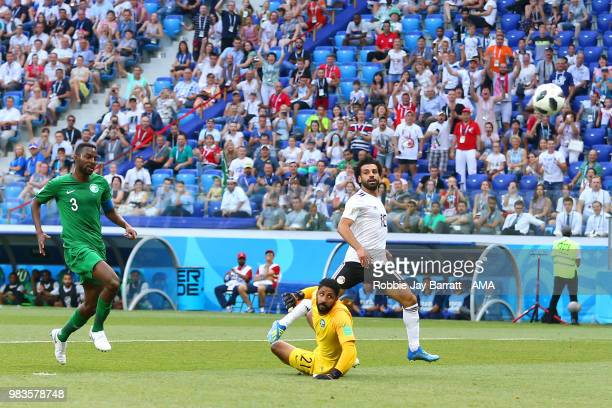 Mohamed Salah of Egypt scores a goal to make it 0-1 during the 2018 FIFA World Cup Russia group A match between Saudi Arabia and Egypt at Volgograd...