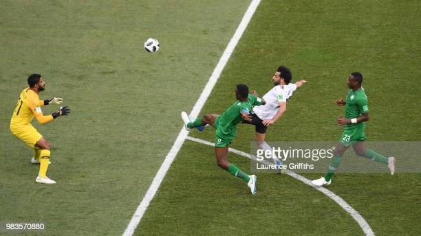 Mohamed Salah of Egypt scores his team's first goal during the 2018 FIFA World Cup Russia group A match between Saudia Arabia and Egypt at Volgograd...