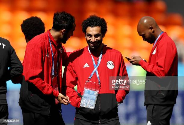 Mohamed Salah of Egypt smile during pitch inspection prior to the 2018 FIFA World Cup Russia group A match between Egypt and Uruguay at Ekaterinburg...