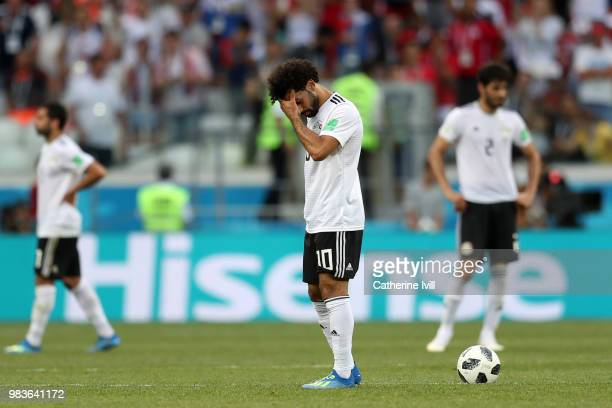 Mohamed Salah of Egypt walks off dejected following the 2018 FIFA World Cup Russia group A match between Saudia Arabia and Egypt at Volgograd Arena...