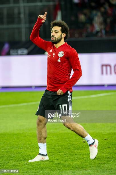 Mohamed Salah of Egypt warms up before the International Friendly between Portugal and Egypt at the Letzigrund Stadium on March 23 2018 in Zurich...