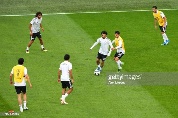 Mohamed Salah of Egypt warms up prior to the 2018 FIFA World Cup Russia group A match between Russia and Egypt at Saint Petersburg Stadium on June 19...