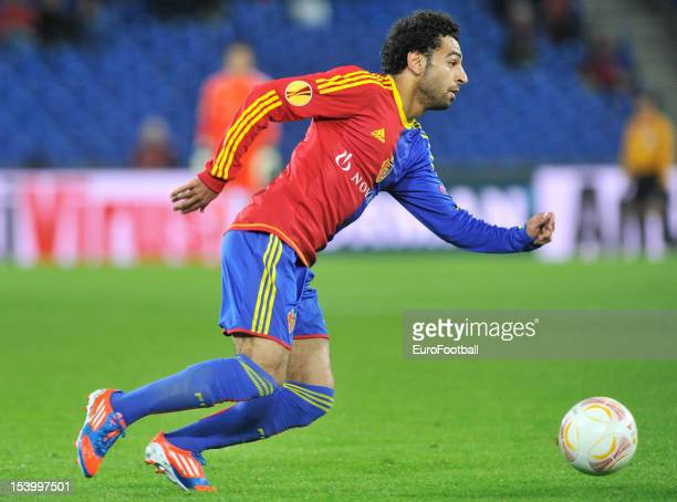 Mohamed Salah of FC Basel 1893 in action during the UEFA Europa League group stage match between FC Basel 1893 and KRC Genk held on October 4 2012 at...