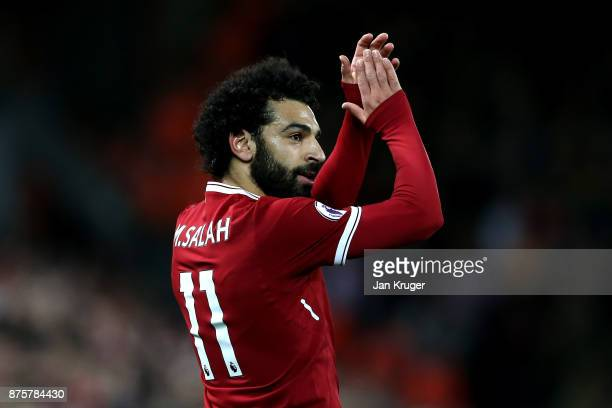 Mohamed Salah of Liverpool acknoweldges the crowd during the Premier League match between Liverpool and Southampton at Anfield on November 18 2017 in...