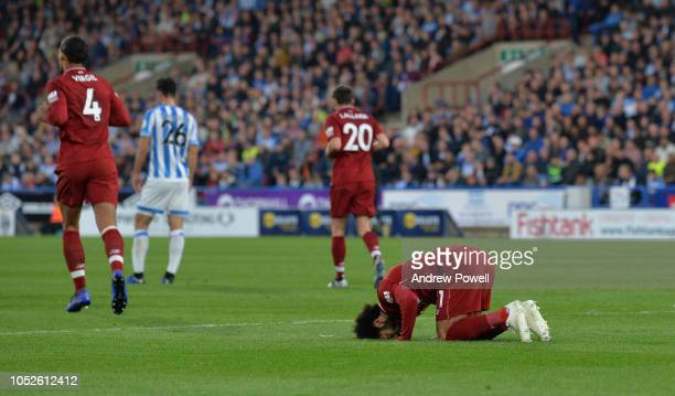 Mohamed Salah of Liverpool after scoring the opening goal during the Premier League match between Huddersfield Town and Liverpool FC at John Smith's...