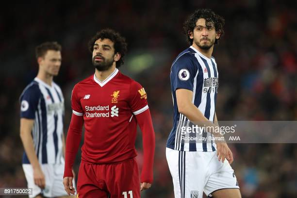 Mohamed Salah of Liverpool and Ahmed Hegazi of West Bromwich Albion look on during the Premier League match between Liverpool and West Bromwich...