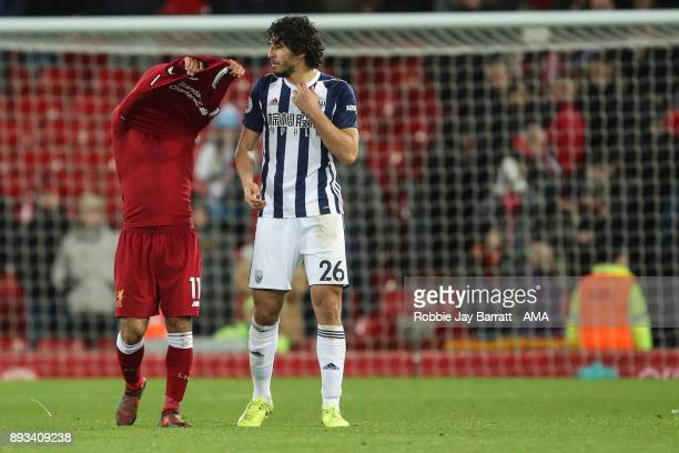 Mohamed Salah of Liverpool and Ahmed Hegazy of West Bromwich Albion during the Premier League match between Liverpool and West Bromwich Albion at...
